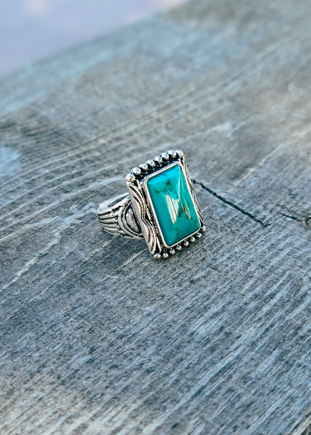 Silver Antique Turquoise Stone Stretch Ring Taken Outside