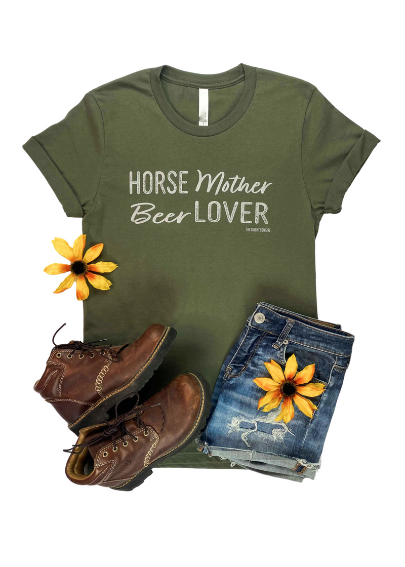 Army Green Horse Mother Beer Lover Short Sleeve Graphic Tee