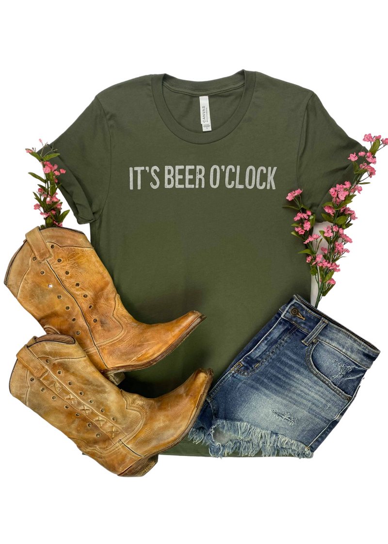 Army Green It's Beer O'Clock Short Sleeve Tee