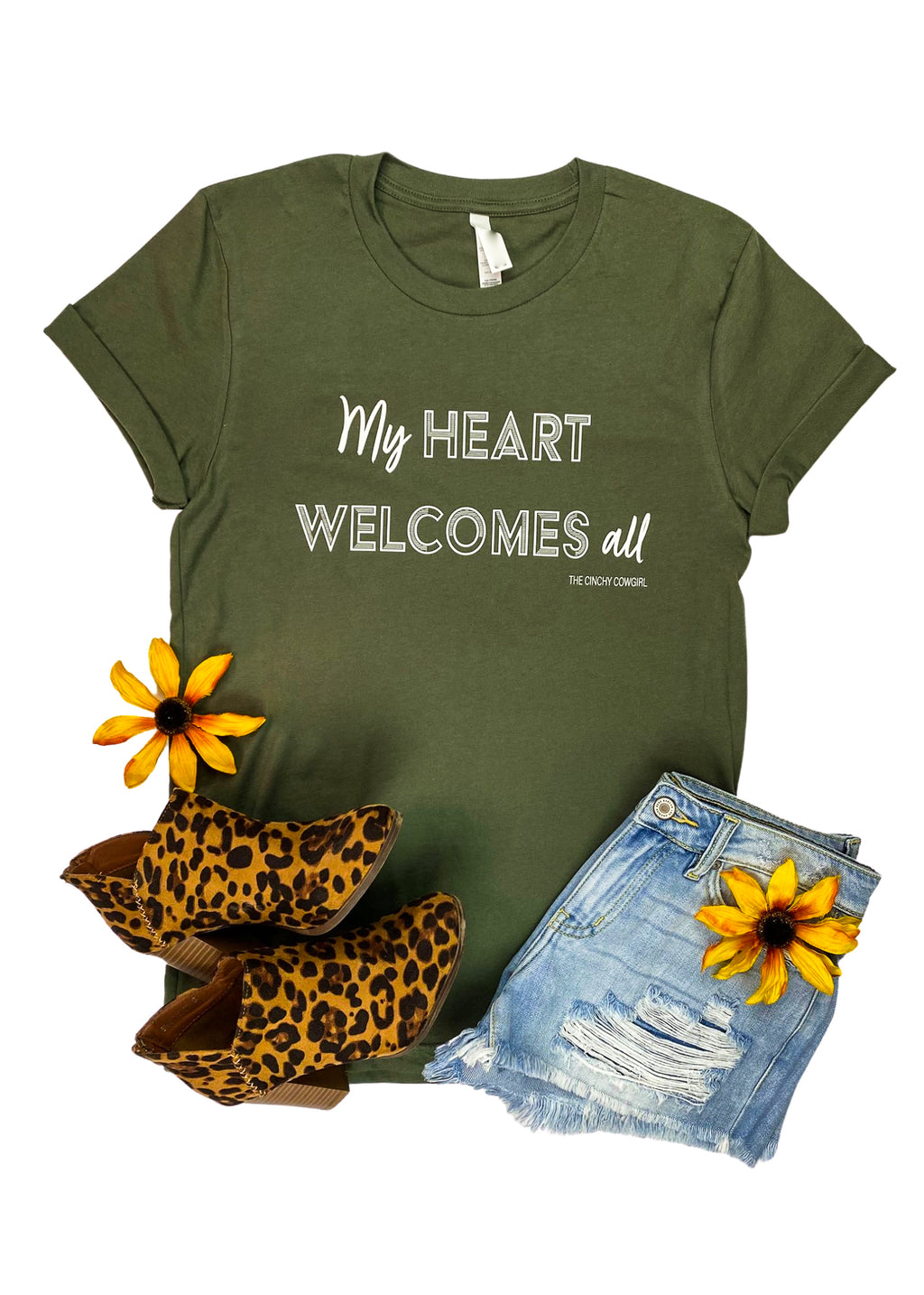 "Army Green Short Sleeve Tee with ""My Heart Welcomes All"" in White Ink in the center"