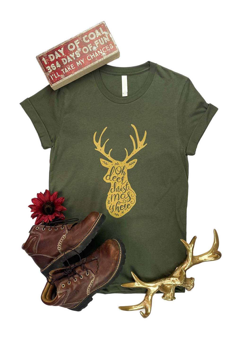 "Army Green Short Sleeve Tee with Gold Deer and ""Oh Deer Christmas is here"" Graphic in the center"