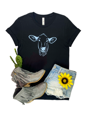 Black Funny Cow Short Sleeve Graphic Tee