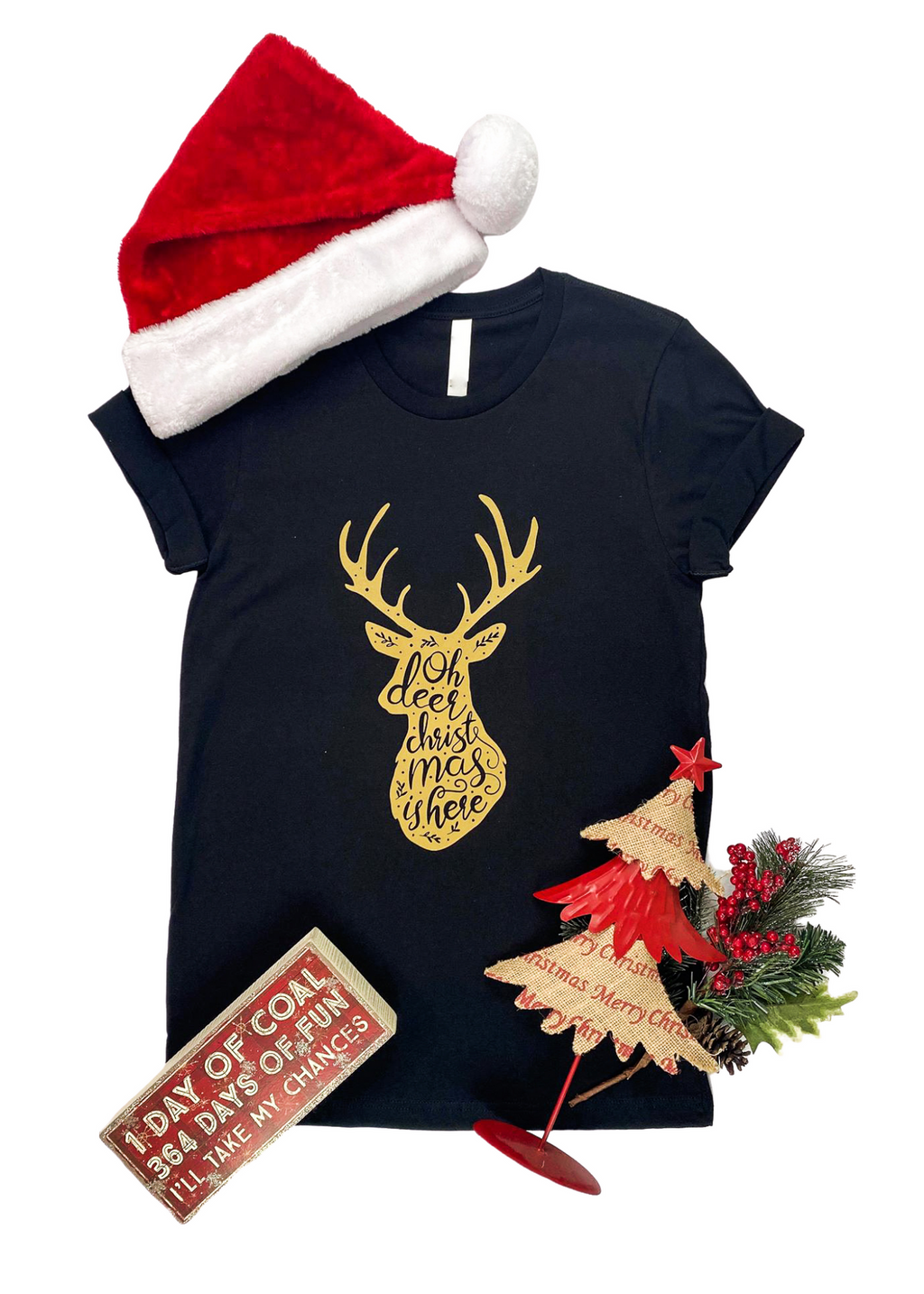 "Black Short Sleeve Tee with Gold Deer and ""Oh Deer Christmas is here"" Graphic in the center"