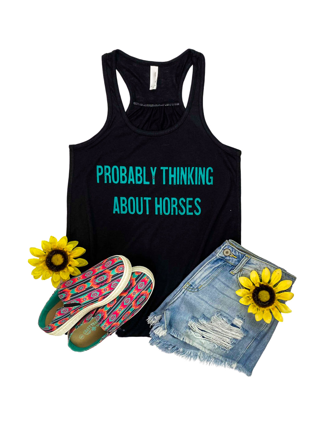 Solid Black tank with Probably Thinking About Horses lettering in Teal ink in the center