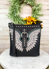 Black Studded Wing Crossbody with Crossbody Strap