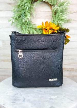 Back of Black Studded Wing Crossbody  with Zipper Pocket