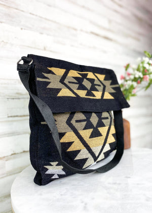 Black & Tan Aztec Shoulder Handbag