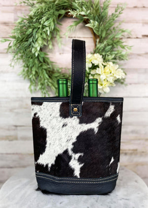 Black & White Cowhide 2 Bottle Caddy with Black Handle Taken Inside with Studio Lights