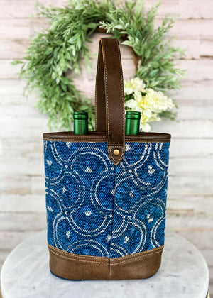 Back of Blue Pattern Canvas 2 Bottle Caddy with Brown Leather Handle, Taken Inside with Studio Lights