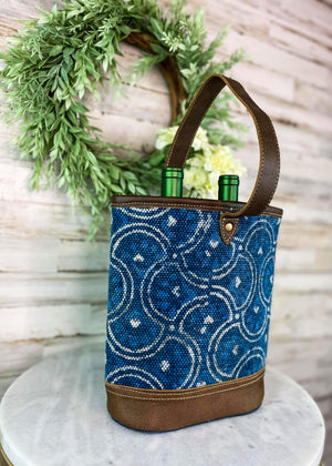 Blue Pattern Canvas 2 Bottle Caddy with Brown Leather Handle, Taken Inside with Studio Lights