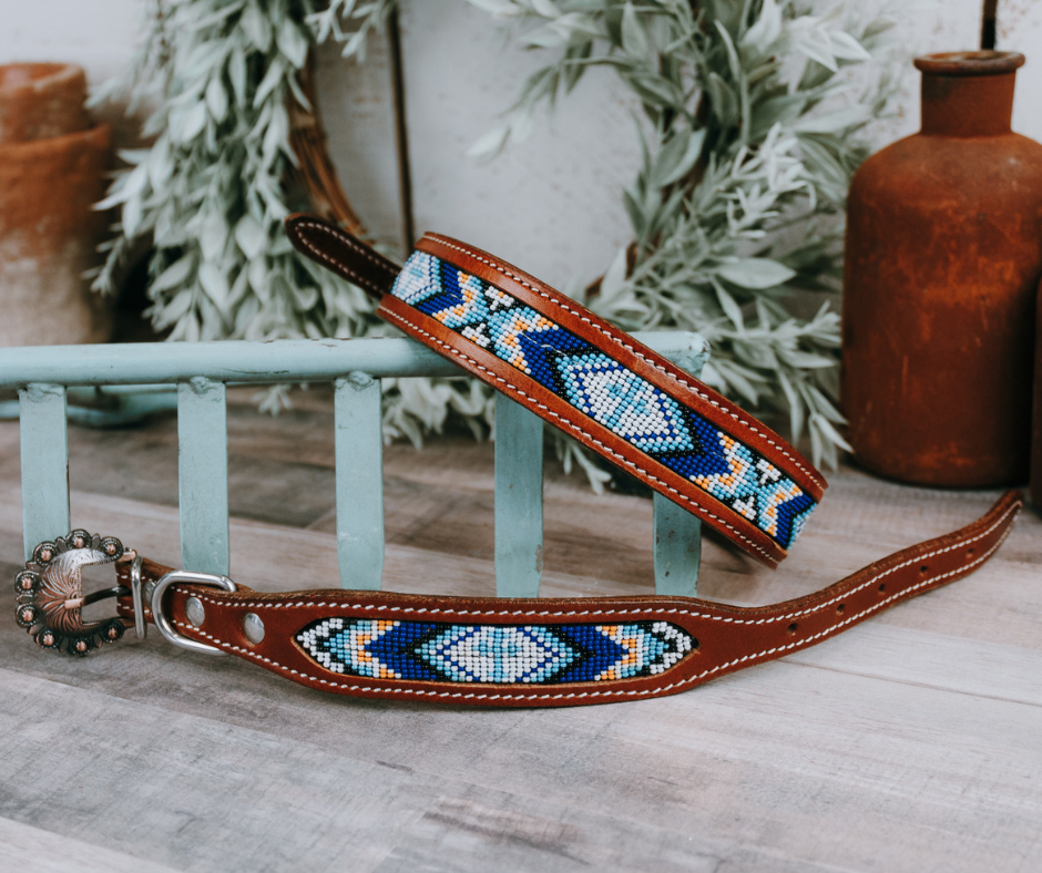 small medium and large blue and yellow beaded dog collar with brown leather straps and designer buckle