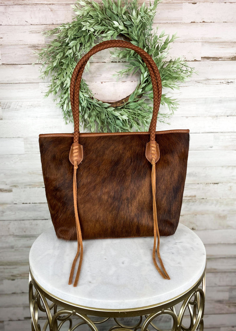 Brown Cowhide Braided Strap Handbag