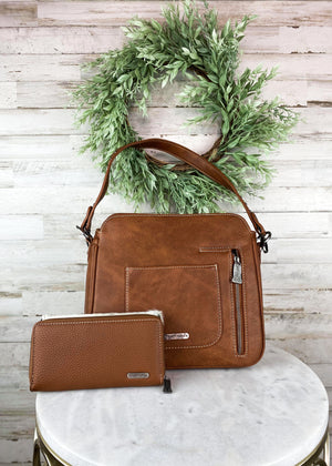 Brown Cowhide Trinity Ranch Concealed Carry Handbag & Wallet Set