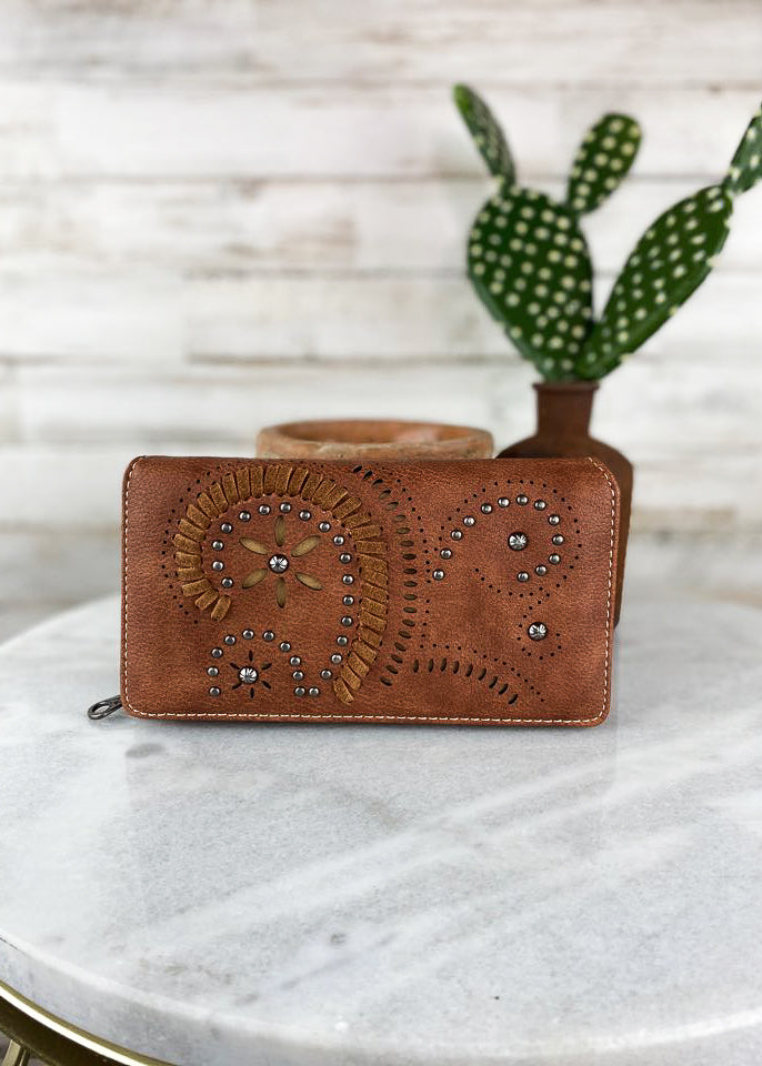 Brown Floral Cut Out Wallet