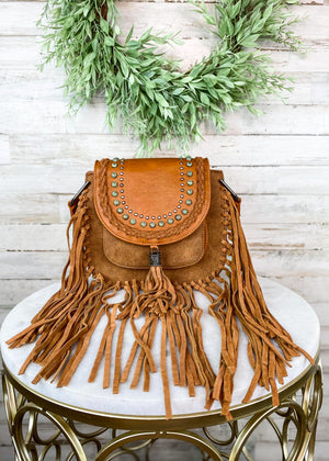 Brown Hand-Tied Fringe Crossbody