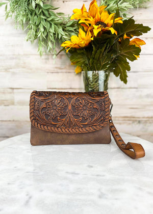 Brown Tooled Aztec Clutch/Crossbody with Studded Wristlet Strap