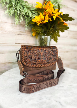 Brown Tooled Aztec Clutch/Crossbody with crossbody strap