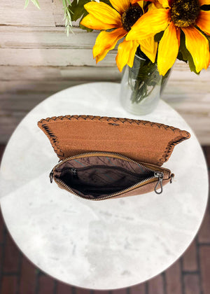 Inside of Brown Tooled Aztec Clutch/Crossbody with Inside Side Zipper Pocket