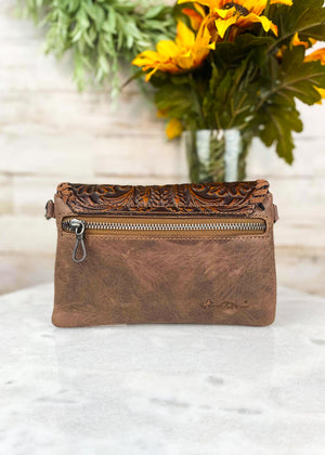 Back of Brown Tooled Aztec Clutch/Crossbody with Back Zipper Pocket