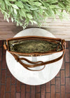 Brown Vintage Floral Embossed Crossbody