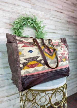 Brown & Multi Color Aztec Weekender Handbag