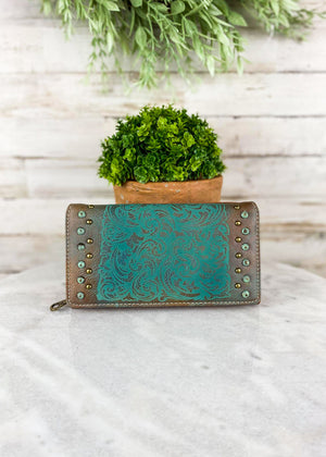 Brown & Teal Embossed Wallet