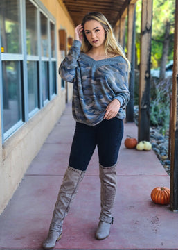 Camo Slouchy V Neck Long Sleeve Top