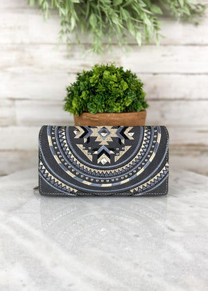 Charcoal Embroidered Aztec Wallet