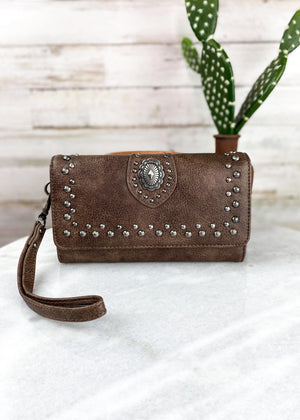 Coffee Concho Studded Wallet/Wristlet