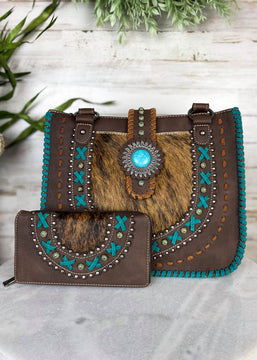 Coffee & Teal Saddle Stich Concho Conceal Carry Handbag & Wallet