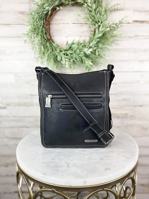 Concealed Carry Black Cowhide Fringe Crossbody Handbag