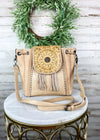 Concealed Carry Tan Mandala Tooled Crossbody/Hobo Handbag