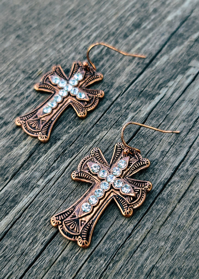 Copper & Crystal Cross Earrings with Fish Hook, Taken Outside in Natural Light