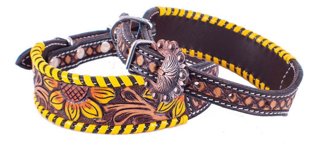 Sunflower Laced Dog Collar