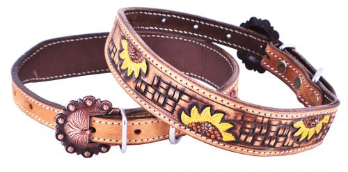 Tooled Sunflower Dog Collar