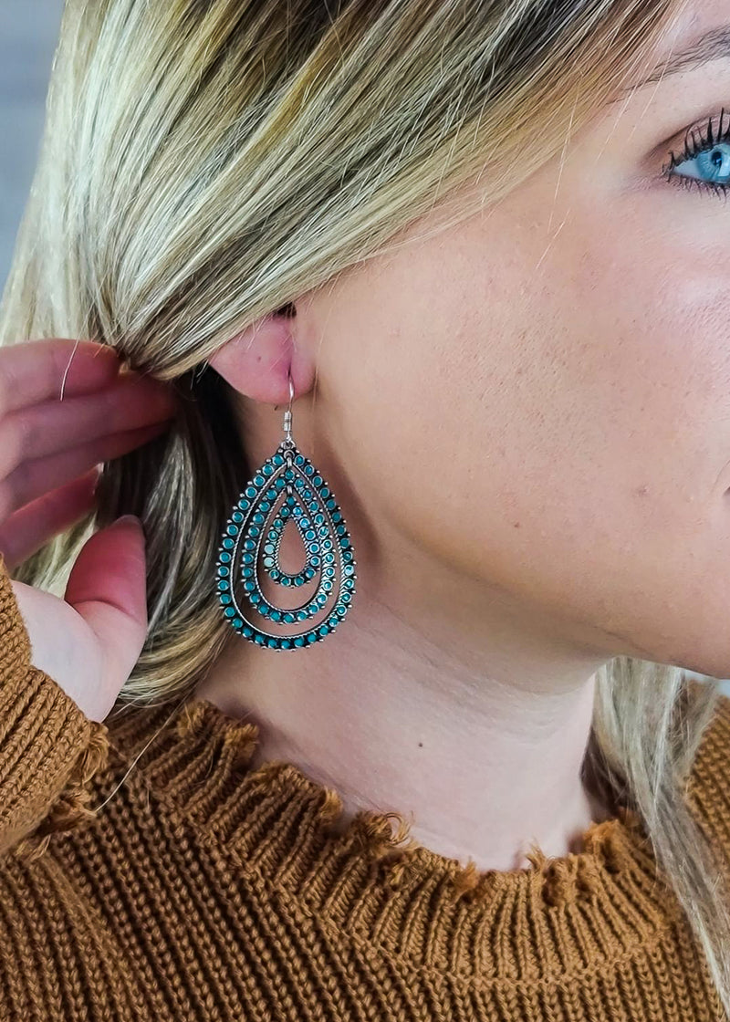 Dark Teal Layered Teardrop Earrings on blonde model