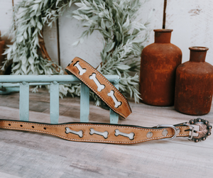 small medium and large distressed leather and cowhide dog bone design dog collar with designer buckle