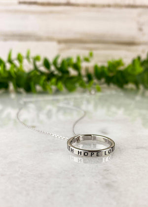 Silver Faith, Hope, Love Ring Necklace