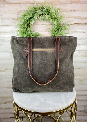 Brown & Blue South-West Tote Handbag