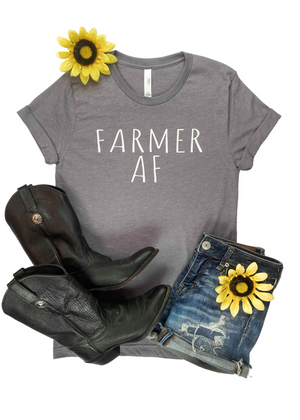 Heather Grey Farmer AF Short Sleeve Graphic Tee