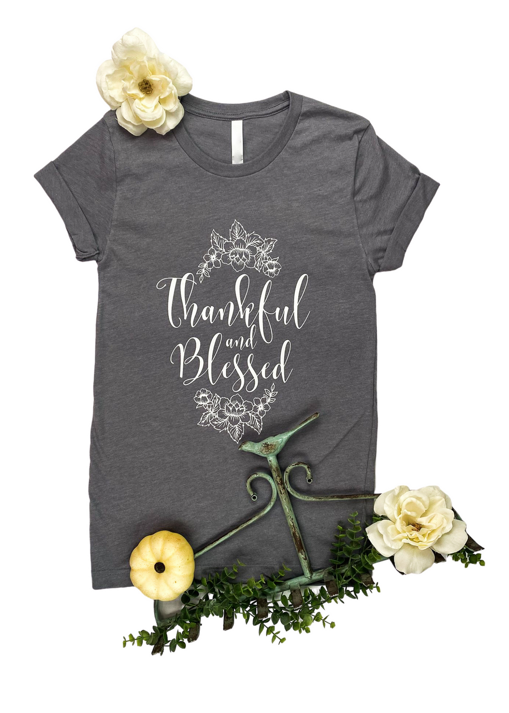 "Heather Grey Short Sleeve Tee with ""Thankful & Blessed"" and Floral Graphic in White Ink in the center"