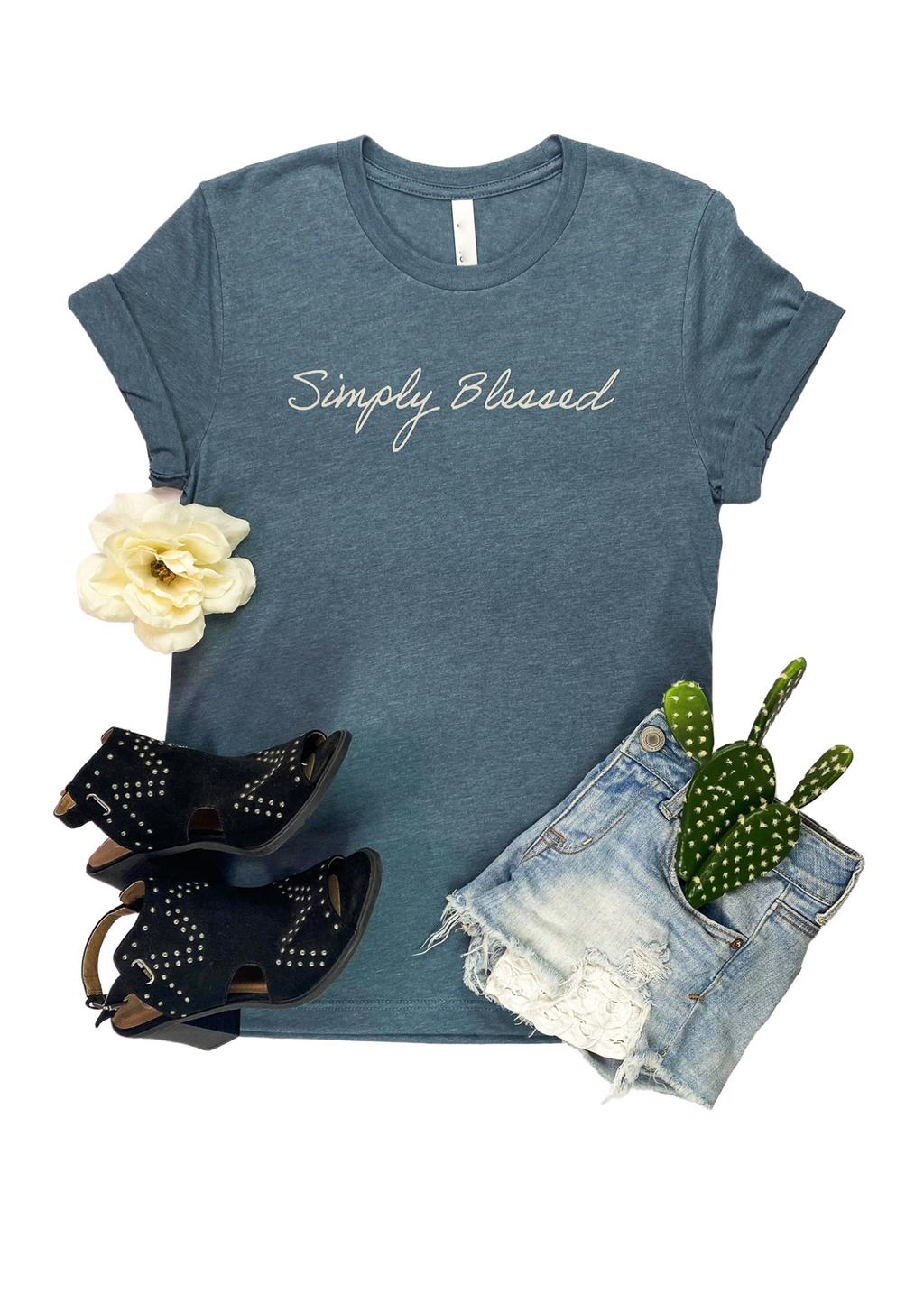"Heather Slate Short Sleeve Graphic Tee with ""Simply Blessed"" in Light Grey Ink in the center"