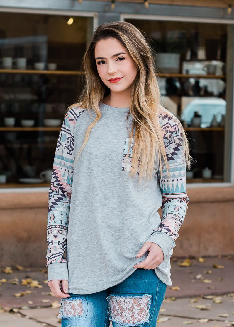 Heather Grey Aztec Long Sleeve Top on model