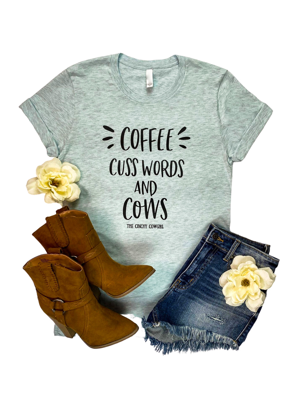 Ice Blue Short Sleeve Tee with Coffee, Cuss Words And Cows in Black Ink in the center