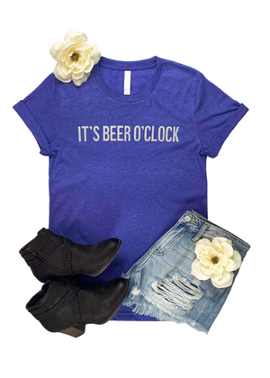 "Lapis colored short sleeve graphic tee with ""It's Beer O' Clock"" in the center"