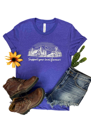 Lapis Support Your Local Farmers Short Sleeve Tee