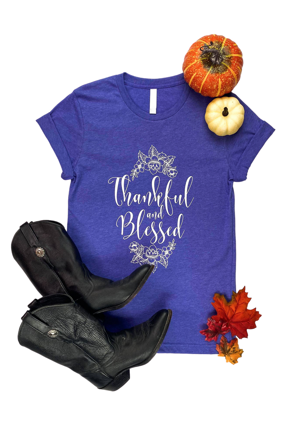 "Lapis Short Sleeve Tee with ""Thankful & Blessed"" and Floral Graphic in White Ink in the center"