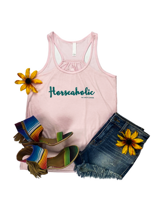 "Light Pink Racer Back Tank Top with ""Horseaholic"" graphic in the center"