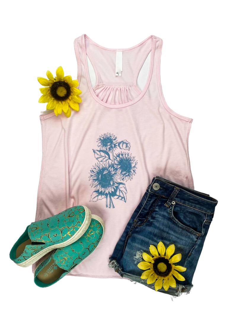 Light Pink Sunflower Graphic Tank