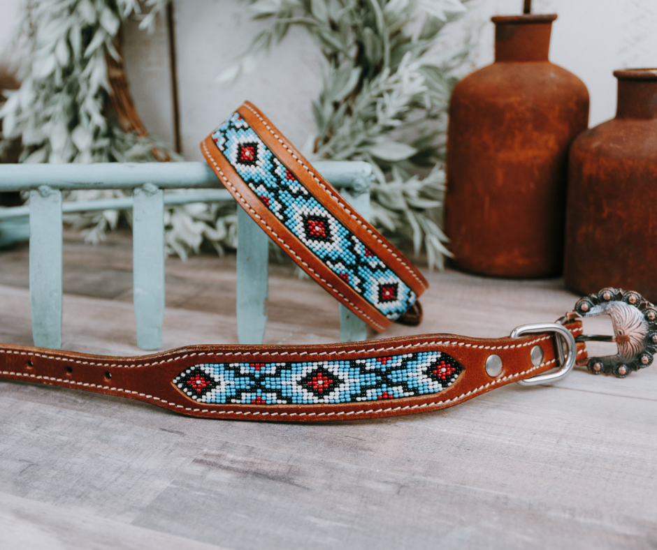 small medium and large light blue aztec beaded dog collar with brown leather strap and designer buckle